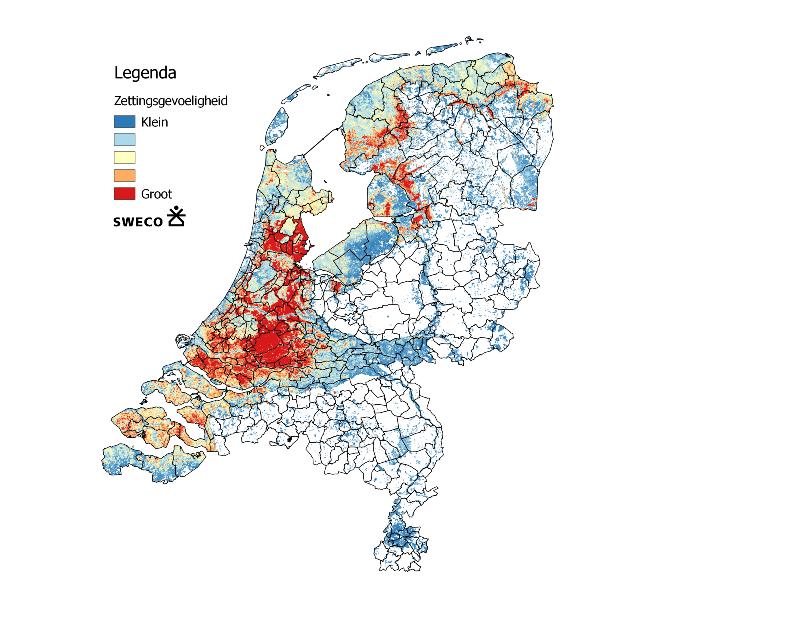 Kaart van Nederland zettingsgevoeligheid door droogte