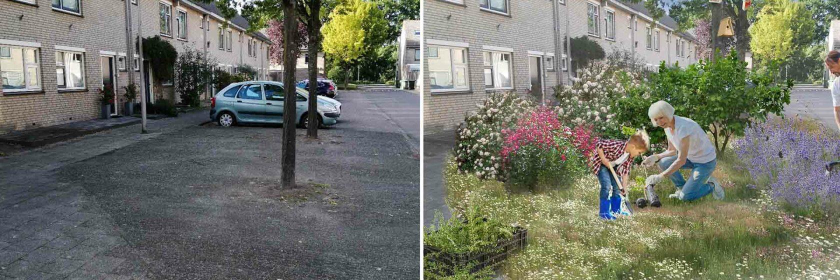 Voorbeeld van verschil tussen huidige en toekomstige situatie in woonwijk