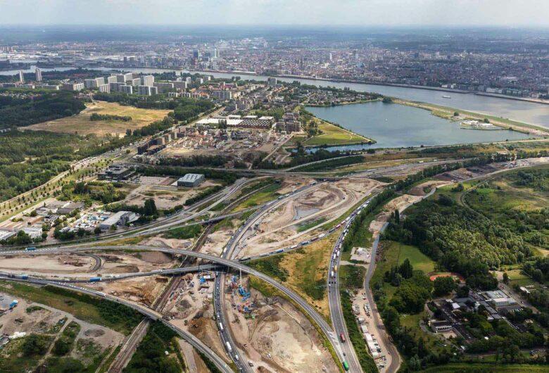 Luchtfoto ringweg Oosterweel-Antwerpen