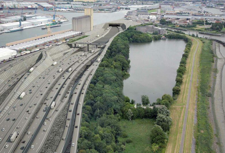 Luchtfoto van Oosterweellverbinding ringweg Antwerpen