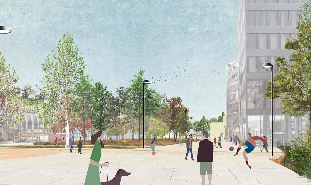 Schets van toonaangevend werk-, woon- en leefgebied Arenapark in Hilversum
