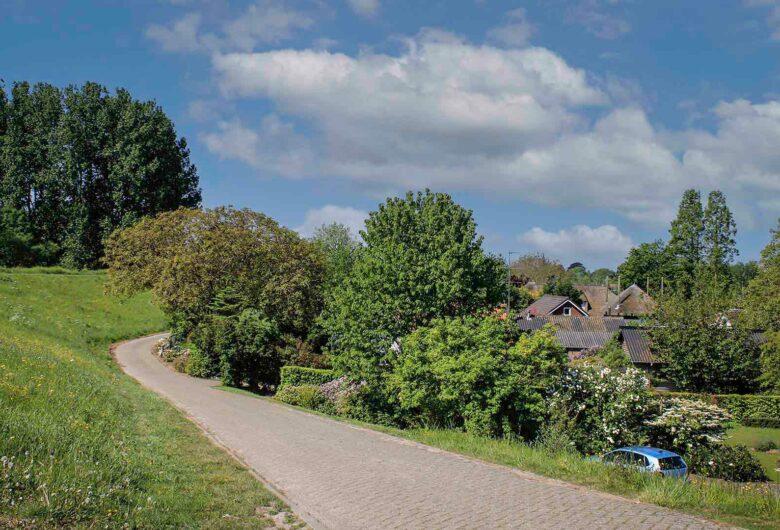Weg met huizen langs de dijk Tiel Waardenburg