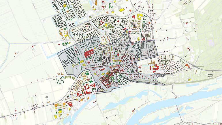 Warmte kaart van stedelijke omgeving