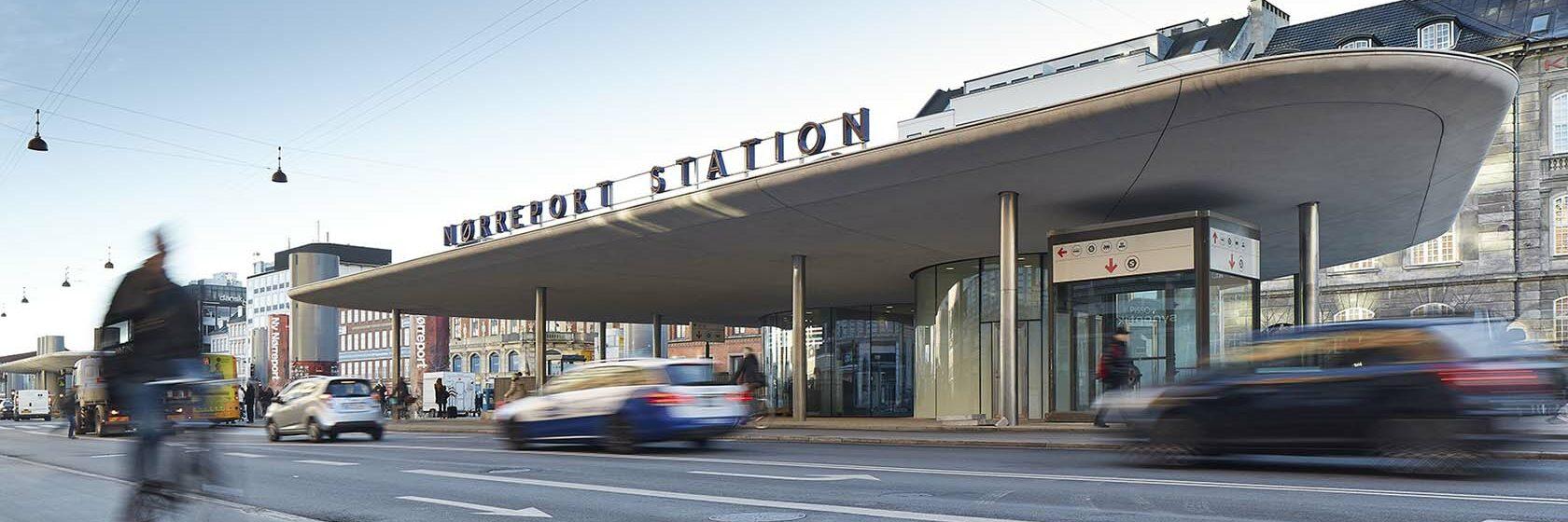 Trein- en metrostation Nørreport in de Deense hoofdstad Kopenhagen