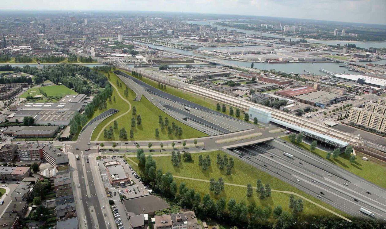 Luchtfoto van verkeerssituatie Oosterweel in Antwerpen, België