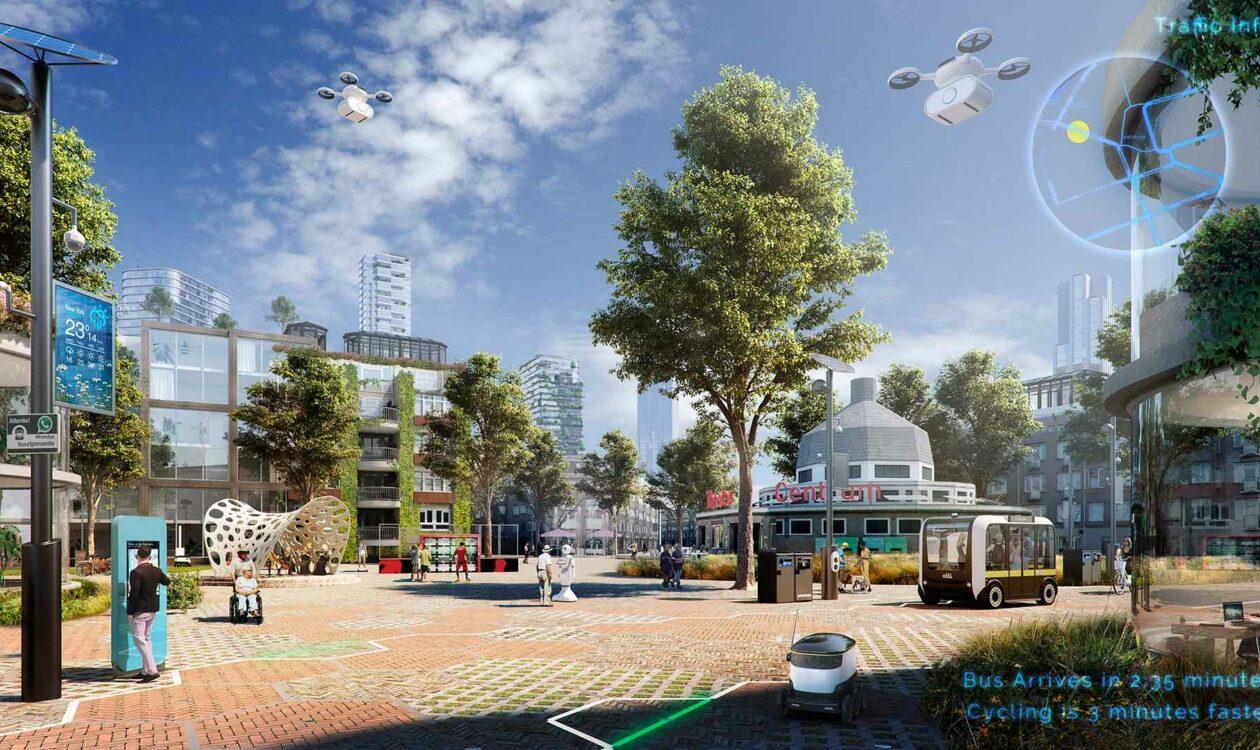 Digitale tekening van stadsbeeld waarin digitalisering een rol speelt