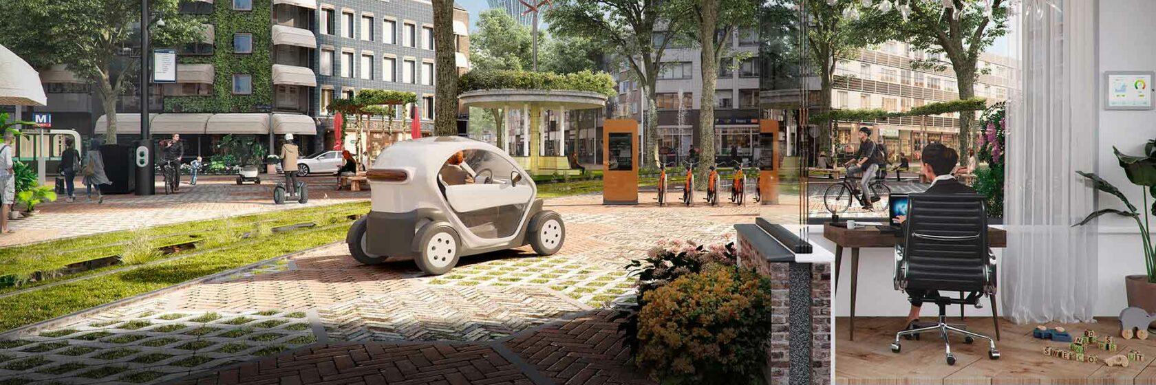 Digitale tekening van stadsbeeld waarin duurzame energie wordt gebruikt