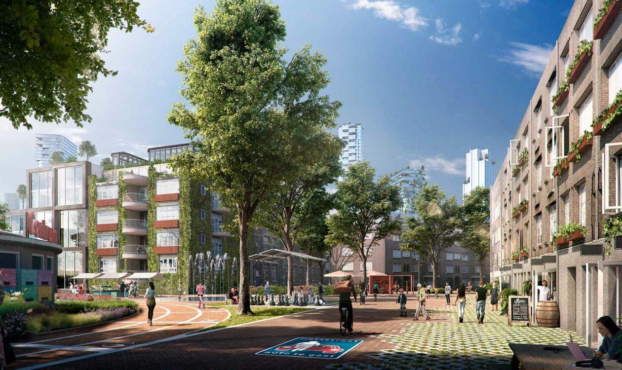 Digitale tekening van een veilige en gezonde stad met mensen die wandelen en fietsen