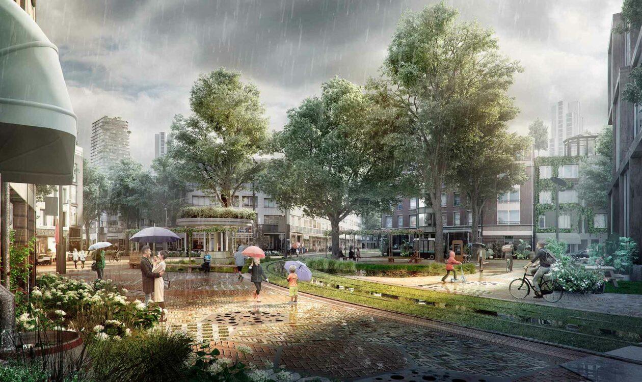Tekening van stedelijk gebied met veel groen, gebouwen en mensen