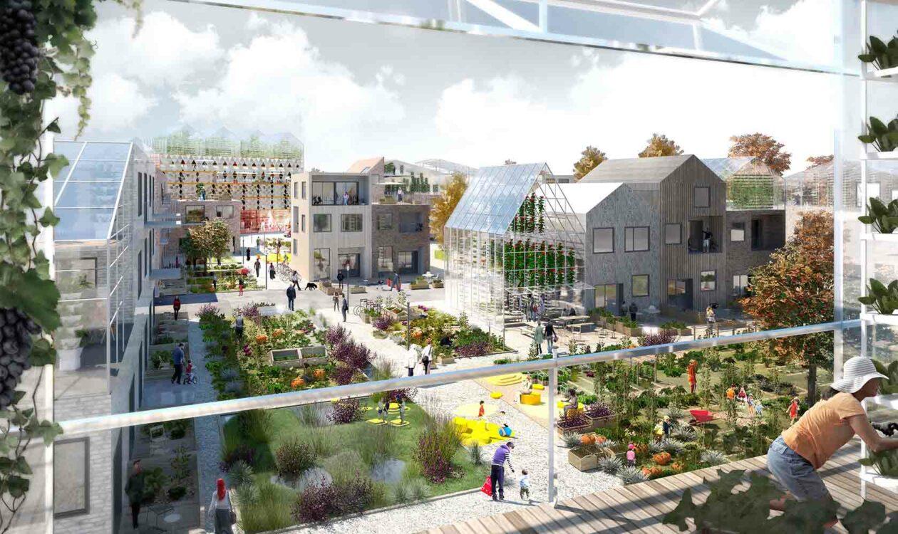 Visualisatie van duurzame gebiedsontwikkeling met plantenkas, mensen en diverse huizen en gebouwen